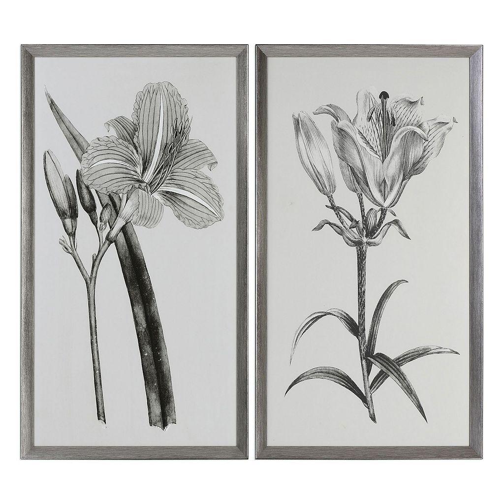 Sepia Flowers Framed Wall Art 2-piece Set