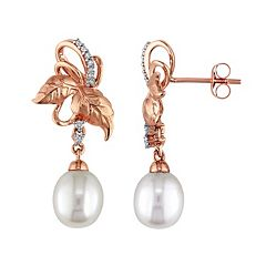 Laura Ashley 10k Rose Gold Freshwater Cultured Pearl & 1/10 Carat T.W. Diamond Leaf Drop Earrings