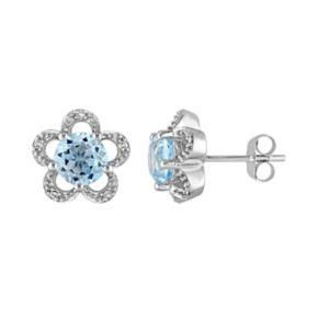 Laura Ashley 10k White Gold Sky Blue Topaz & Diamond Accent Flower Stud Earrings