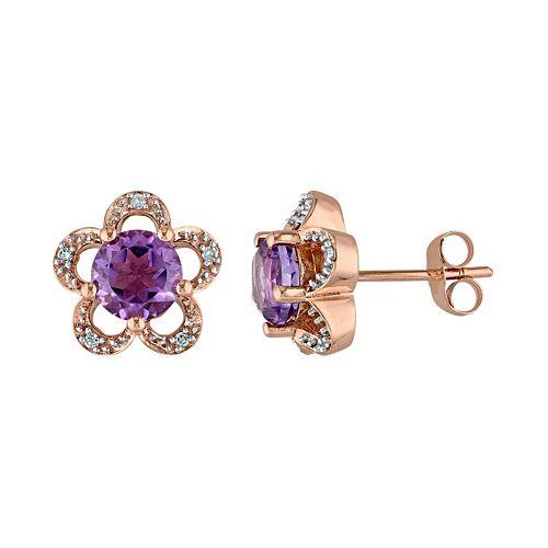Laura Ashley 10k Rose Gold Amethyst & Diamond Accent Flower Stud Earrings