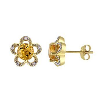 Laura Ashley 10k Gold Citrine & Diamond Accent Flower Stud Earrings
