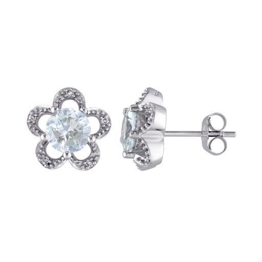 Laura Ashley 10k White Gold Aquamarine & Diamond Accent Flower Stud Earrings