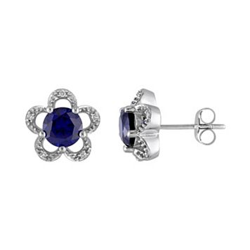 Laura Ashley 10k White Gold Lab-Created Sapphire & Diamond Accent Flower Stud Earrings