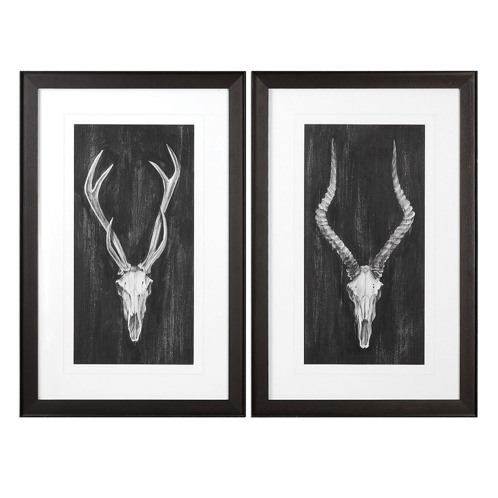 Rustic European Mounts Framed Wall Art 2-piece Set