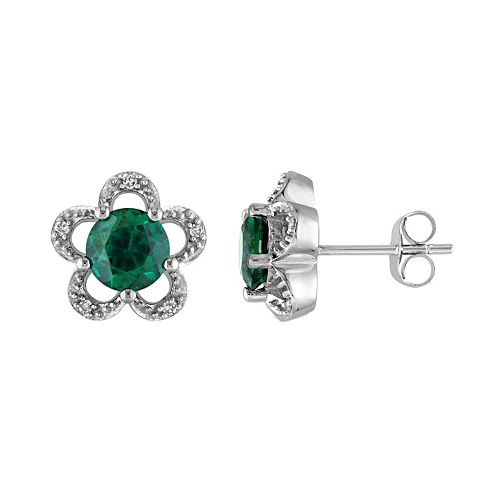 Laura Ashley 10k White Gold Lab-Created Emerald & Diamond Accent Flower Stud Earrings