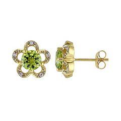 Laura Ashley Lifestyles 10k Gold Peridot & Diamond Accent Flower Stud Earrings