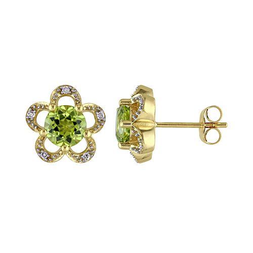 Laura Ashley 10k Gold Peridot & Diamond Accent Flower Stud Earrings