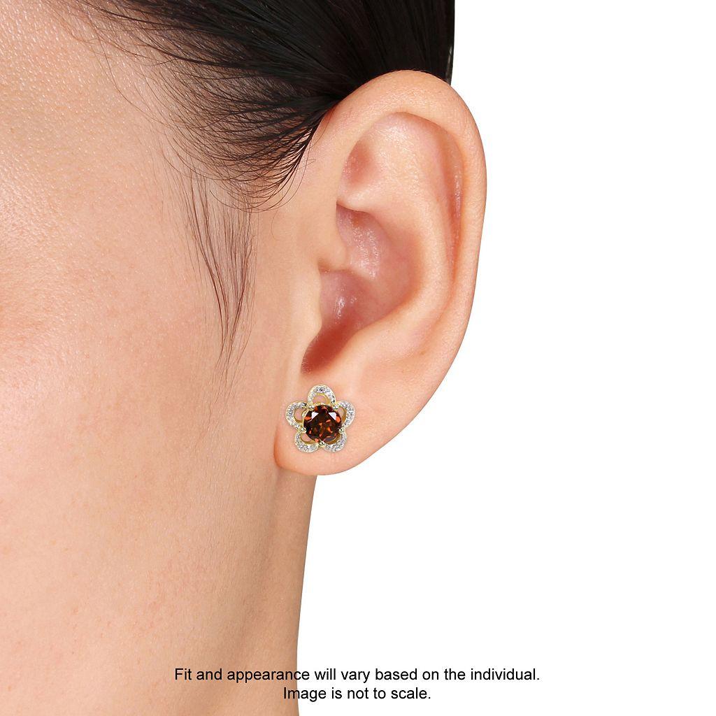 Laura Ashley 10k Gold Garnet & Diamond Accent Flower Stud Earrings