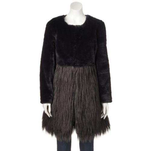 Women's WDNY Black Faux-Fur Coat