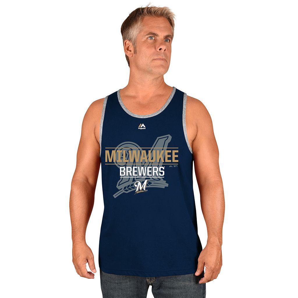 Men's Majestic Milwaukee Brewers Home Turf Advantage Tank Top
