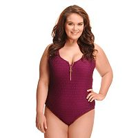 Plus Size Paramour Crochet Zip-Front Underwire One-Piece Swimsuit