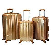 Travelers Club Polaris 3-Piece Metallic Hardside Spinner Luggage Set