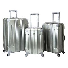 Travelers Club Polaris 3-Piece Metallic Hardside Spinner Luggage Set