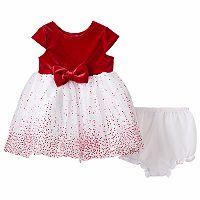 Baby Girl Marmellata Classics Glitter Dot Velvet Dress