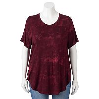 Juniors' Plus Size Mudd Tie-Dye High-Low Tee