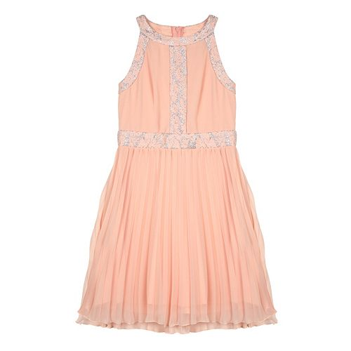 Girls 7-16 IZ Amy Byer Lace Trim Pleated Skirt Dress