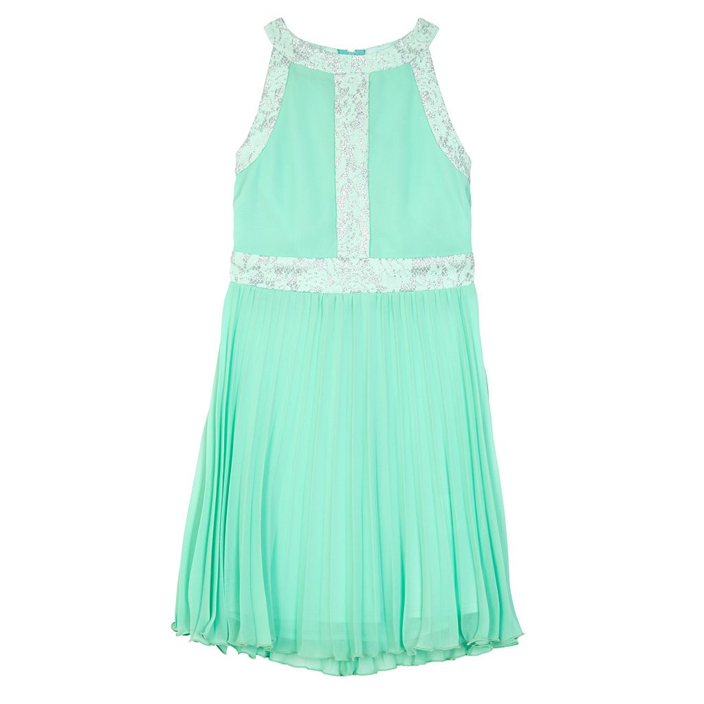Girls 7-16 IZ Amy Byer Lace Trim Pleated Skirt Dress