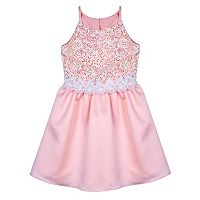 Girls 7-16 IZ Amy Byer Blush Pink Sequin Lace Party Dress