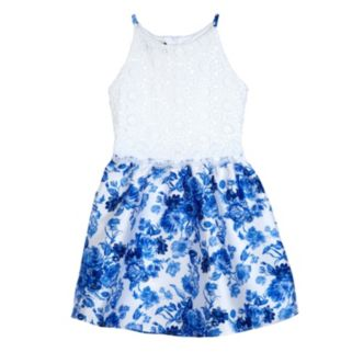Girls 7-16 IZ Amy Byer Lace Bodice & Floral Skirt Dress