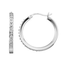 Diamond Mystique Sterling Silver Hoop Earrings