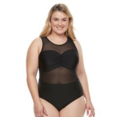 Plus Size Paramour Mesh Underwire One-Piece Swimsuit