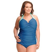 Plus Size Paramour Ruched Underwire Halter One-Piece Swimsuit