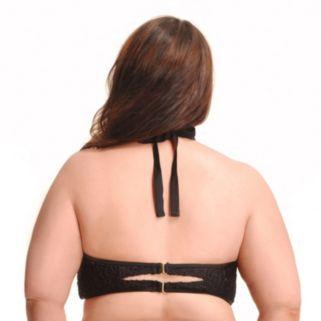 Plus Size Paramour Mesh High-Neck Underwire Halter Bikini Top