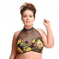 Plus Size Paramour Mesh High-Neck Underwire Halter Bikini Top