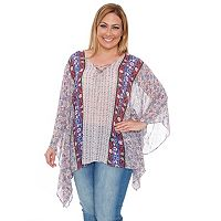 Plus Size White Mark Poncho Tunic