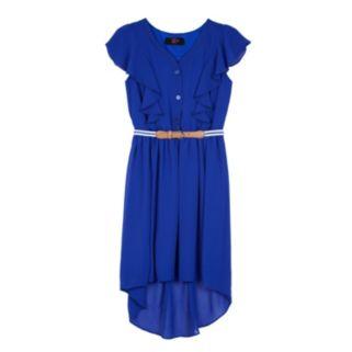 Girls 7-16 IZ Amy Byer Flutter Sleeve High-Low Belted Shirtdress