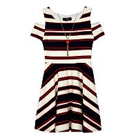 Girls 7-16 IZ Amy Byer Patterned Cold Should Dress with Necklace