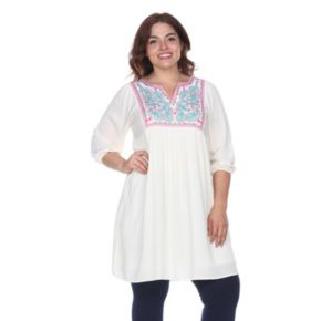 Plus Size White Mark Embroidered Smock Dress