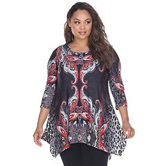 Plus Size White Mark Aymmetrical Tunic