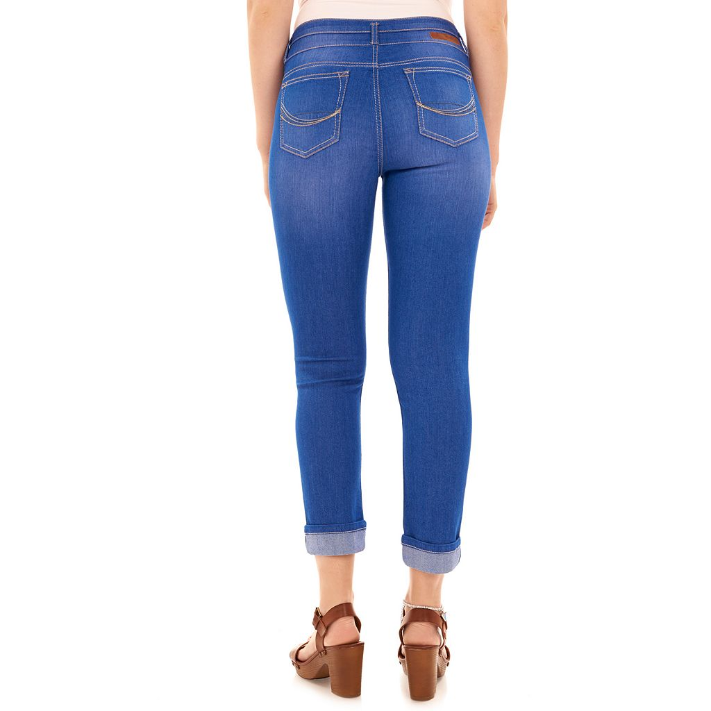 Juniors' Wallflower Drop Yoke Ankle Skinny Jeans