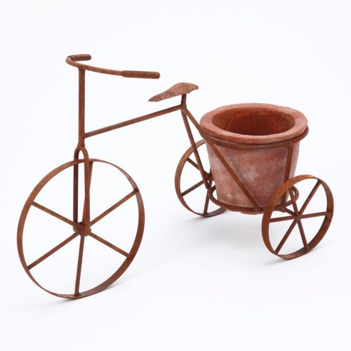 Gerson Metal Bicycle & Terracotta Planter 2-piece Set