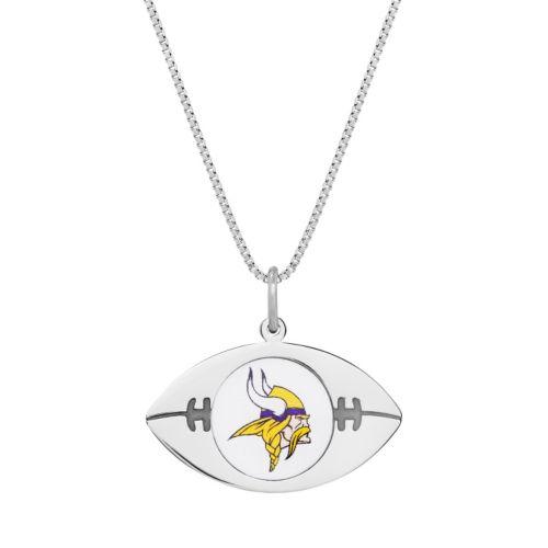 Sterling Silver Minnesota Vikings Football Pendant Necklace