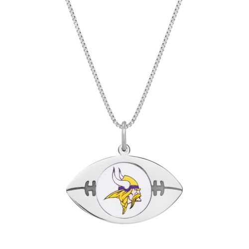 Sterling Silver Minnesota Vikings Football Pendant Necklace