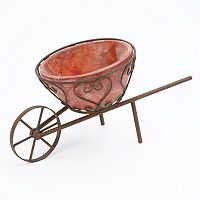 Gerson Metal Cart & Terracotta Planter 2-piece Set