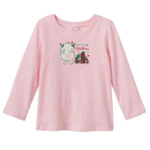 Baby Girl Jumping Beans® Glittery Holiday Graphic Tee