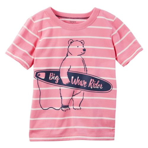 "Boys 4-8 Carter's ""Big Wave Rider"" Bear Graphic Striped Tee"