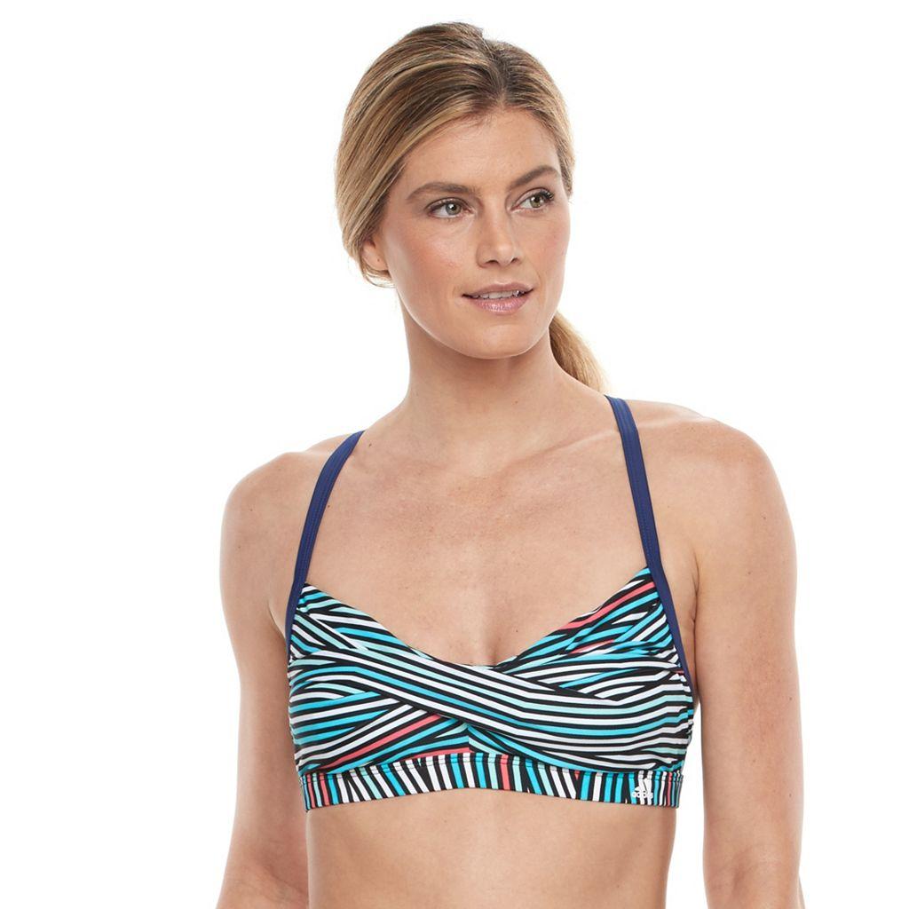 Women's adidas Wrapped Up Striped Twist-Front Bikini Top