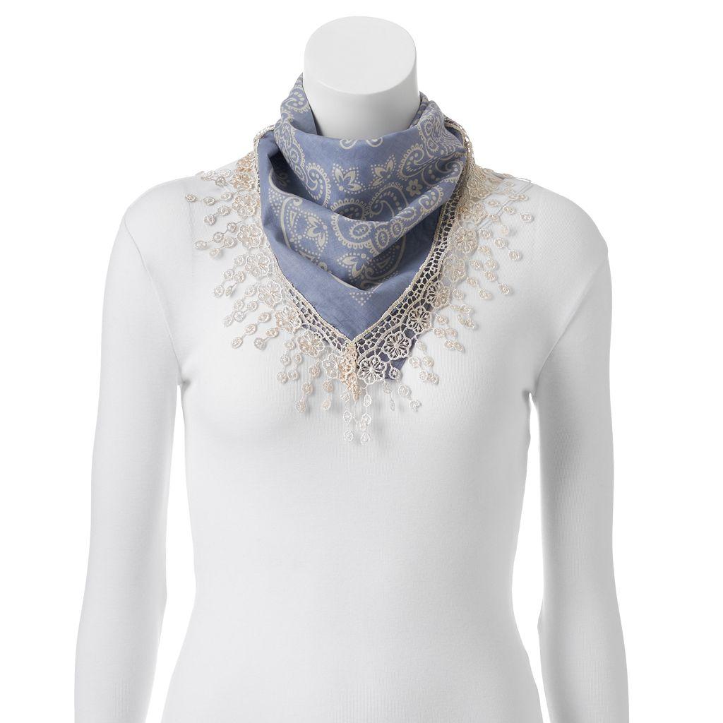 Mudd® Paisley Crochet Square Scarf