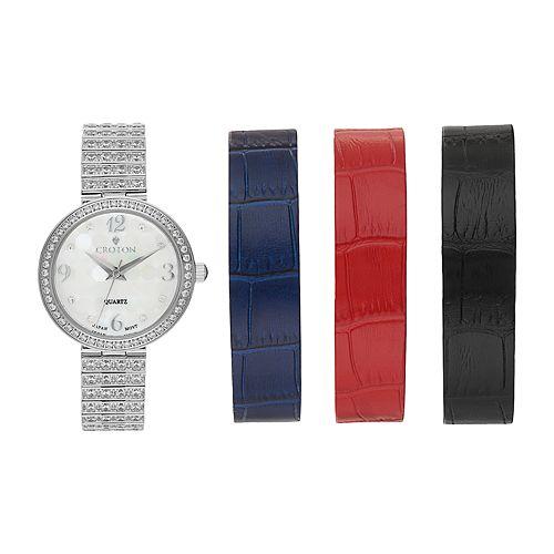 Croton Women's Cubic Zirconia Watch & Interchangeable Band Set