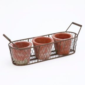 Gerson Metal Basket & Terracotta Planter 4-piece Set