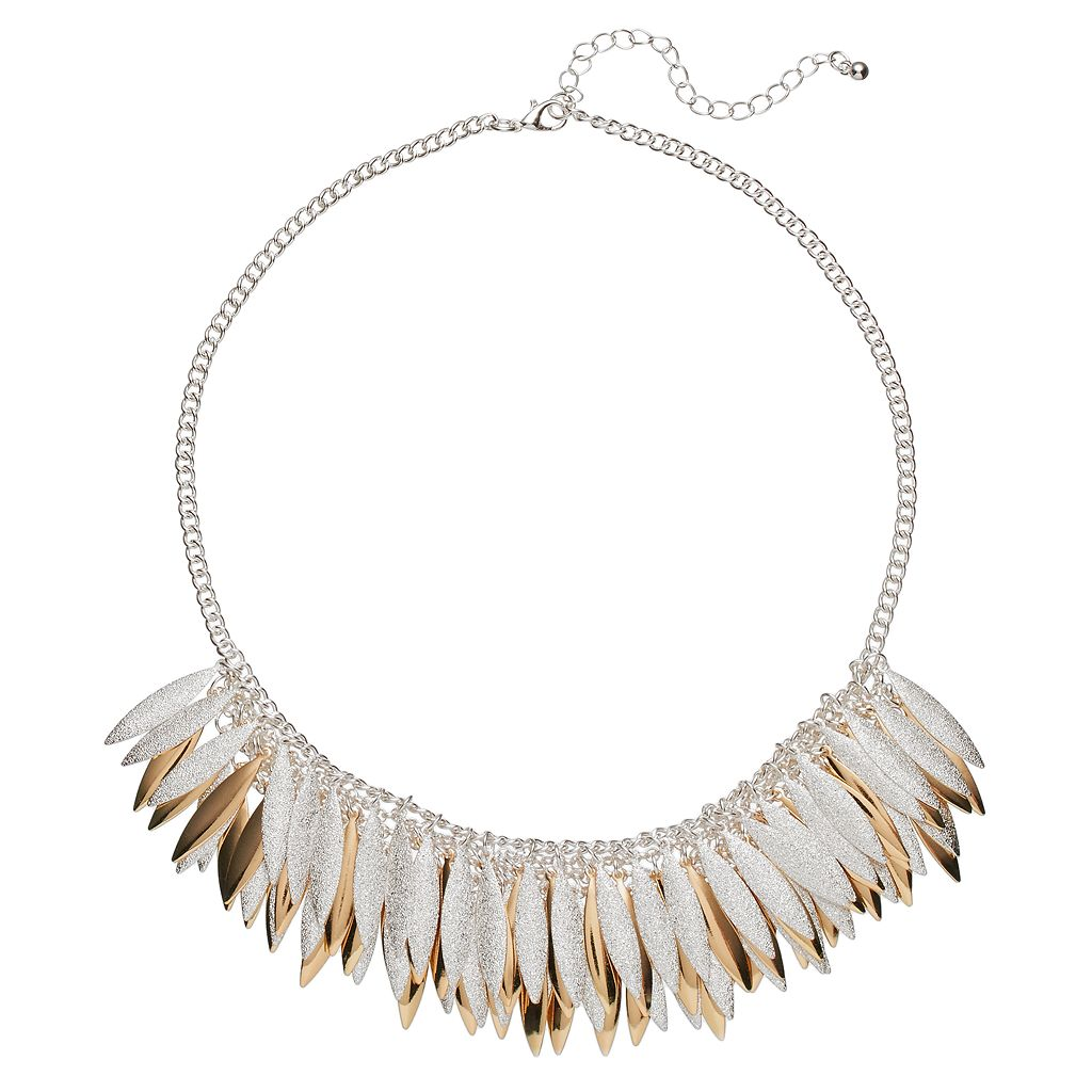 Two Tone Textured Marquise Fringe Necklace