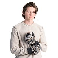Men's MUK LUKS Convertible Fairisle Flip-Top Mittens
