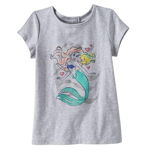 215df65c9 Disney's The Little Mermaid Ariel & Flounder Girls 4-10 Glitter Graphic ...