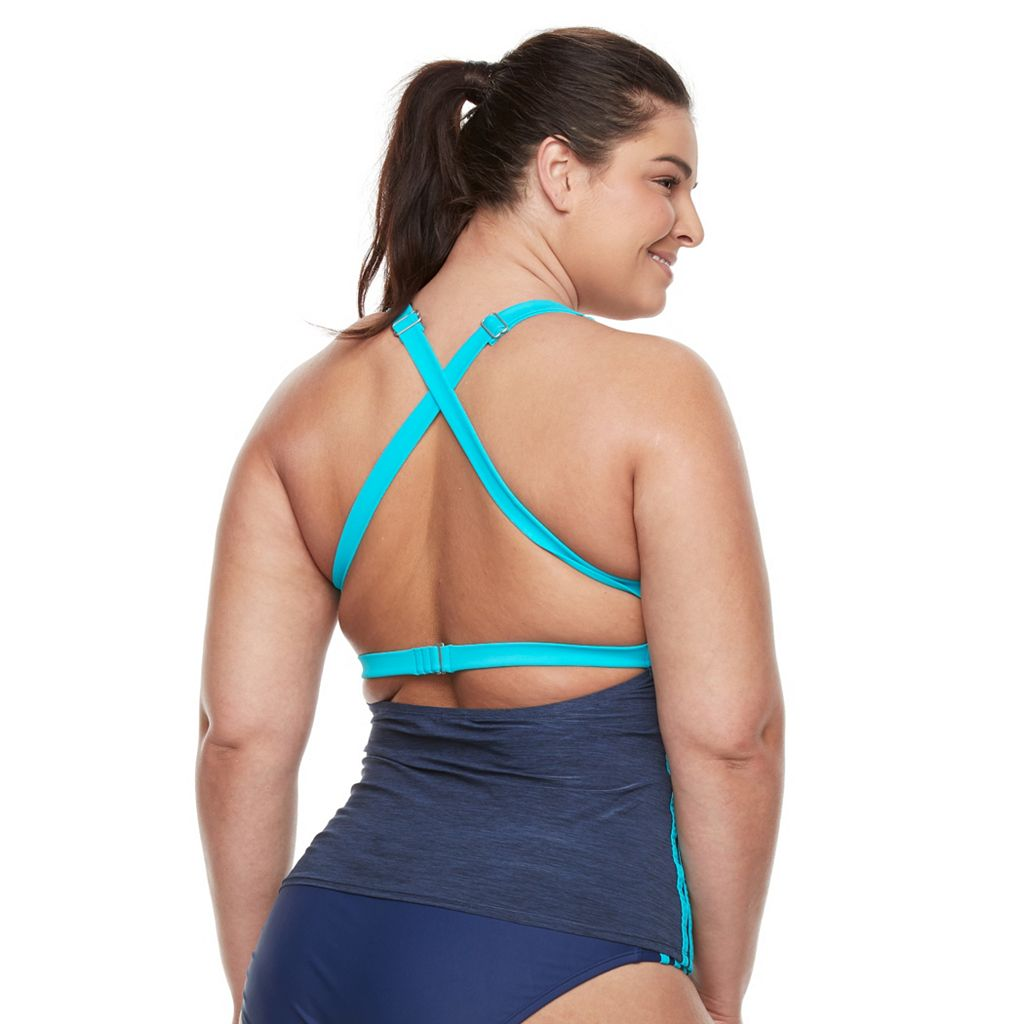 Plus Size adidas Light As Heather Sporty Tankini Top