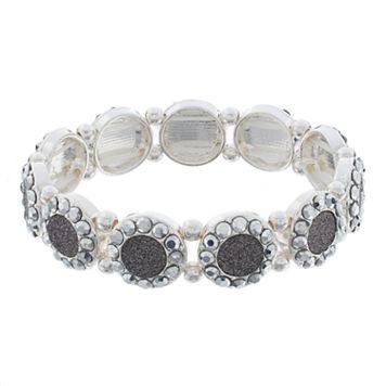 Gray Glittery Circle Stretch Bracelet