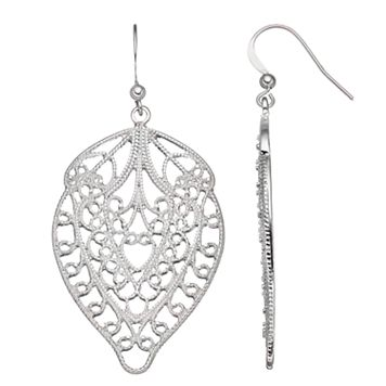 Filigree Leaf Nickel Free Drop Earrings